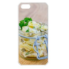 Potato salad in a jar on wooden Apple iPhone 5 Seamless Case (White)