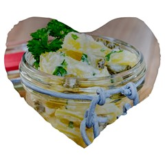 Potato Salad In A Jar On Wooden Large 19  Premium Heart Shape Cushions