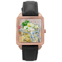 Potato Salad In A Jar On Wooden Rose Gold Leather Watch  by wsfcow