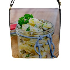 Potato Salad In A Jar On Wooden Flap Messenger Bag (l)  by wsfcow