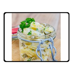 Potato Salad In A Jar On Wooden Double Sided Fleece Blanket (small)