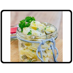 Potato Salad In A Jar On Wooden Double Sided Fleece Blanket (large)  by wsfcow