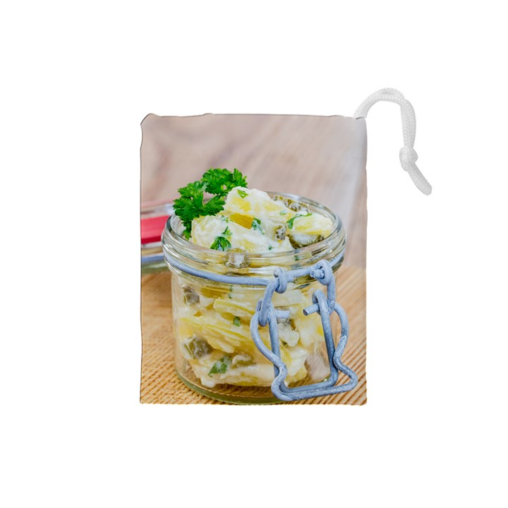 Potato salad in a jar on wooden Drawstring Pouches (Small)
