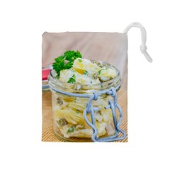 Potato salad in a jar on wooden Drawstring Pouches (Medium)