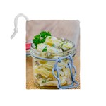 Potato salad in a jar on wooden Drawstring Pouches (Medium)  Back