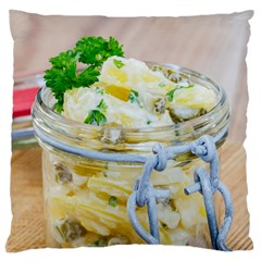 Potato Salad In A Jar On Wooden Large Flano Cushion Case (one Side)
