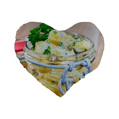 Potato Salad In A Jar On Wooden Standard 16  Premium Flano Heart Shape Cushions