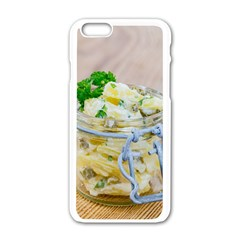 Potato Salad In A Jar On Wooden Apple Iphone 6/6s White Enamel Case by wsfcow