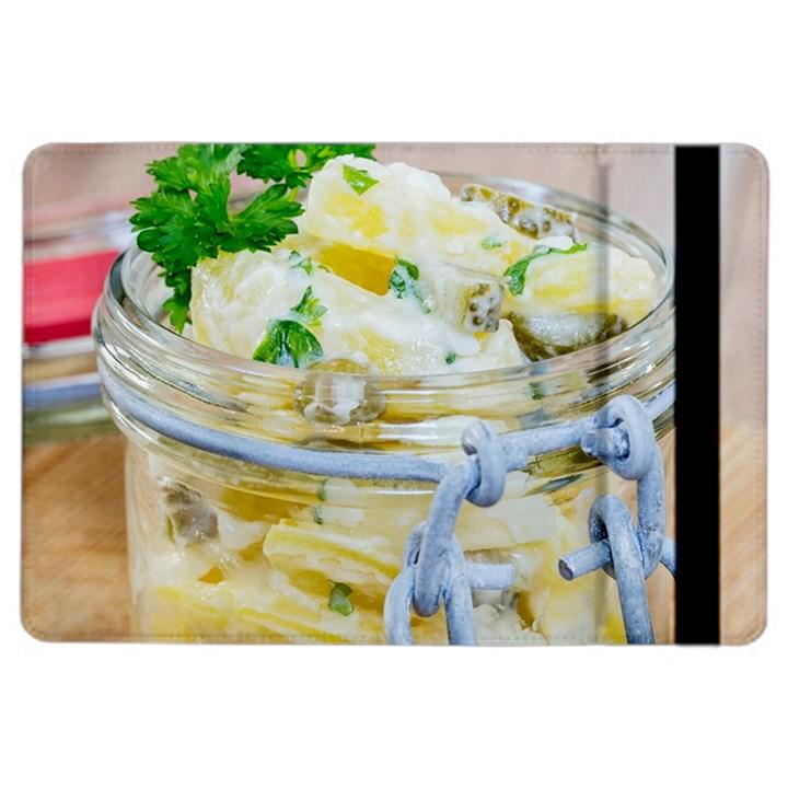 Potato salad in a jar on wooden iPad Air 2 Flip