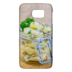 Potato salad in a jar on wooden Galaxy S6