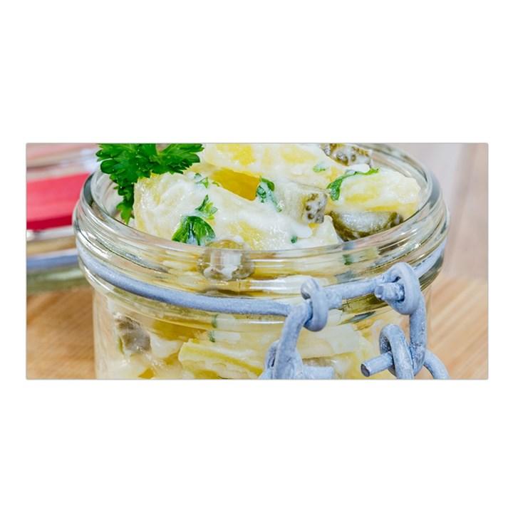 Potato salad in a jar on wooden Satin Shawl