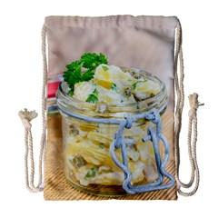 Potato salad in a jar on wooden Drawstring Bag (Large)