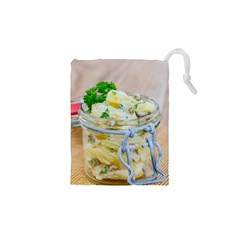 Potato salad in a jar on wooden Drawstring Pouches (XS)