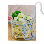 Potato salad in a jar on wooden Drawstring Pouches (XXL) Front