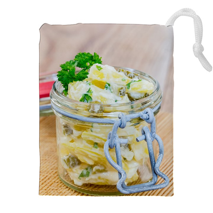 Potato salad in a jar on wooden Drawstring Pouches (XXL)