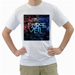 Pierce The Veil Quote Galaxy Nebula Men s T-Shirt (White) (Two Sided)