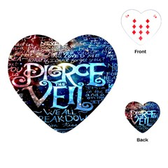 Pierce The Veil Quote Galaxy Nebula Playing Cards (heart)  by Onesevenart