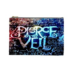 Pierce The Veil Quote Galaxy Nebula Cosmetic Bag (large)  by Onesevenart