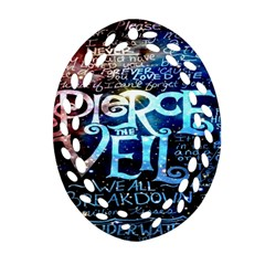 Pierce The Veil Quote Galaxy Nebula Ornament (oval Filigree)  by Onesevenart