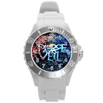 Pierce The Veil Quote Galaxy Nebula Round Plastic Sport Watch (L)