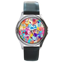 Anemones Round Metal Watch by DanaeStudio