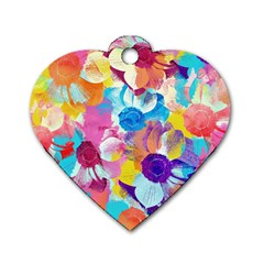 Anemones Dog Tag Heart (one Side) by DanaeStudio