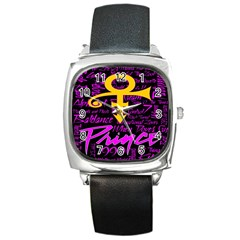 Prince Poster Square Metal Watch by Onesevenart