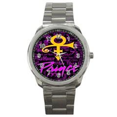 Prince Poster Sport Metal Watch by Onesevenart