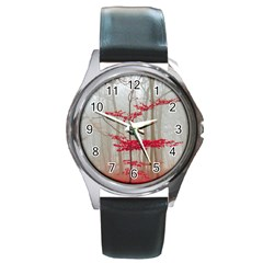 Magic Forest In Red And White Round Metal Watch by wsfcow