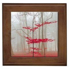 Magic Forest In Red And White Framed Tiles by wsfcow