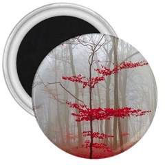 Magic Forest In Red And White 3  Magnets by wsfcow