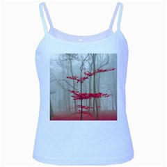 Magic Forest In Red And White Baby Blue Spaghetti Tank