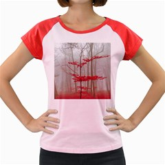 Magic Forest In Red And White Women s Cap Sleeve T Shirt