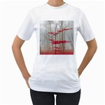 Magic forest in red and white Women s T-Shirt (White) (Two Sided) Front