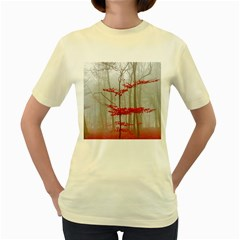 Magic Forest In Red And White Women s Yellow T Shirt