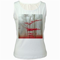 Magic Forest In Red And White Women s White Tank Top