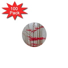 Magic Forest In Red And White 1  Mini Buttons (100 Pack)  by wsfcow