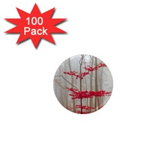 Magic Forest In Red And White 1  Mini Magnets (100 Pack)