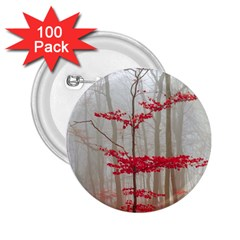 Magic Forest In Red And White 2 25  Buttons (100 Pack)  by wsfcow