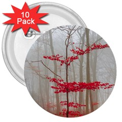 Magic Forest In Red And White 3  Buttons (10 Pack)  by wsfcow
