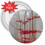 Magic forest in red and white 3  Buttons (10 pack)  Front