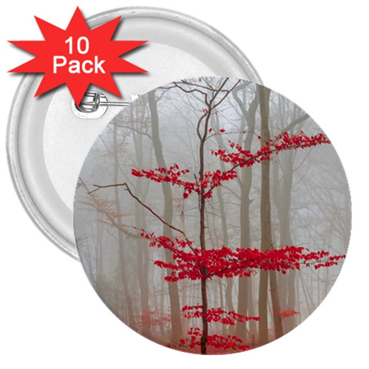 Magic forest in red and white 3  Buttons (10 pack)