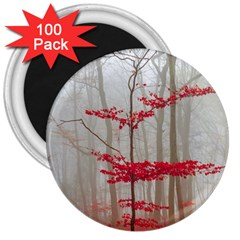 Magic Forest In Red And White 3  Magnets (100 Pack) by wsfcow