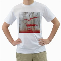 Magic Forest In Red And White Men s T Shirt (white) (two Sided)