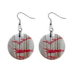 Magic Forest In Red And White Mini Button Earrings by wsfcow