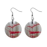Magic forest in red and white Mini Button Earrings Front