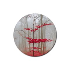 Magic Forest In Red And White Rubber Round Coaster (4 Pack)  by wsfcow