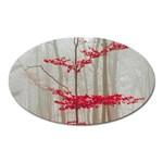 Magic forest in red and white Oval Magnet Front