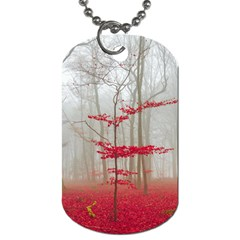 Magic Forest In Red And White Dog Tag (one Side) by wsfcow