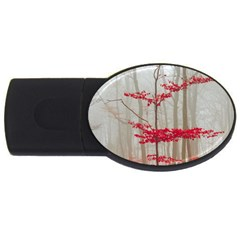 Magic Forest In Red And White Usb Flash Drive Oval (2 Gb)